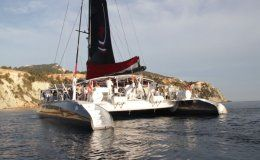 Party catamaran ibiza five star up to 153 guests for day charters ibiza